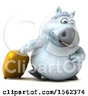 3d Chubby White Horse With Luggage On A White Background