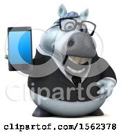 3d Chubby White Business Horse Holding A Smart Phone On A White Background