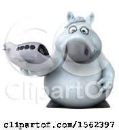 Clipart Of A 3d Chubby White Horse Holding A Plane On A White Background Royalty Free Illustration