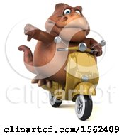 Clipart Of A 3d Brown T Rex Dinosaur Riding A Scooter On A White Background Royalty Free Illustration