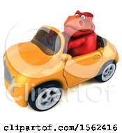 Clipart Of A 3d Red T Rex Dinosaur Driving A Convertible On A White Background Royalty Free Illustration