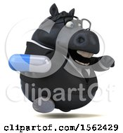 3d Chubby Black Business Horse Holding A Pill On A White Background