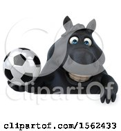 3d Chubby Black Horse Holding A Soccer Ball On A White Background