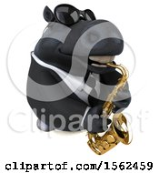 3d Chubby Black Business Horse Playing A Saxophone On A White Background