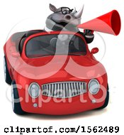 Clipart Of A 3d Business Rhinoceros Driving A Convertible On A White Background Royalty Free Illustration by Julos
