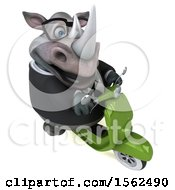 Clipart Of A 3d Business Rhinoceros Riding A Scooter On A White Background Royalty Free Illustration by Julos