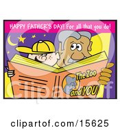 Father And Son Reading A Zoo Book On Fathers Day Clipart Illustration