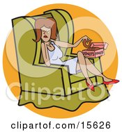Woman Sitting Cross Legged In A Green Chair While Indulging In A Box Of Donuts After A Stressful Day Clipart Illustration