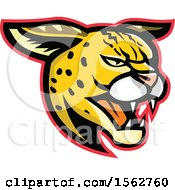 Clipart Of A Growling Serval Wild Cat Mascot Head Royalty Free Vector Illustration