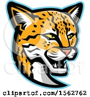 Clipart Of A Margay Cat Mascot Head Royalty Free Vector Illustration