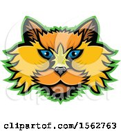 Clipart Of A Selkirk Rex Cat Mascot Head Outlined In Green Royalty Free Vector Illustration