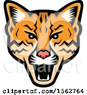 Clipart Of An Angry Ocelot Cat Mascot Head Royalty Free Vector Illustration