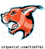 Clipart Of A Caracal Cat Mascot Head In Profile Royalty Free Vector Illustration