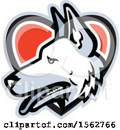 Clipart Of A White German Shepherd Dog Mascot Head In A Heart Royalty Free Vector Illustration by patrimonio