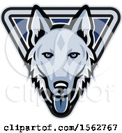 Clipart Of A German Shepherd Dog Mascot Head In A Triangle Royalty Free Vector Illustration by patrimonio