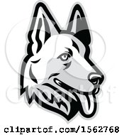Clipart Of A White German Shepherd Dog Mascot Head Royalty Free Vector Illustration by patrimonio