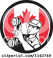 Clipart Of A Retro Telephone Repair Man Holding Out A Receiver In A Canadian Flag Circle Royalty Free Vector Illustration