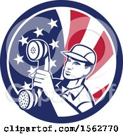 Clipart Of A Retro Telephone Repair Man Holding Out A Receiver In An American Flag Circle Royalty Free Vector Illustration