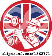 Clipart Of A Retro Telephone Repair Man Holding Out A Receiver In A Union Jack Flag Circle Royalty Free Vector Illustration