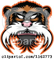 Clipart Of An Emperor Tamarin Mascot Head Royalty Free Vector Illustration