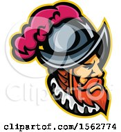 Spanish Conquistador Mascot Wearing A Morion Hat