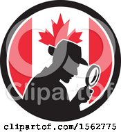Clipart Of A Retro Silhouetted Detective Using A Magnifying Glass In A Canadian Flag Circle Royalty Free Vector Illustration by patrimonio