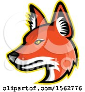 Clipart Of A Dhole Asiatic Wild Dog Mascot Head Facing Left Royalty Free Vector Illustration