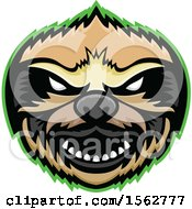 Clipart Of A Tough Sloth Mascot Head Outlined In Green Royalty Free Vector Illustration