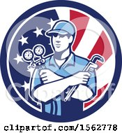 Clipart Of A Retro Refrigeration Mechanic Air Conditioning Or Air Con Serviceman Holding Manifold Gauge In An American Flag Circle Royalty Free Vector Illustration
