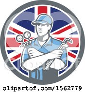 Clipart Of A Retro Refrigeration Mechanic Air Conditioning Or Air Con Serviceman Holding Manifold Gauge In A Union Jack Flag Circle Royalty Free Vector Illustration