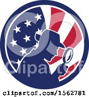 Poster, Art Print Of Retro Silhouetted Detective Using A Magnifying Glass In An American Flag Circle
