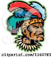 Clipart Of An African Zulu Warrior Wearing A Feather Headdress Royalty Free Vector Illustration