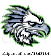 Clipart Of A Profiled American Harpy Eagle Mascot Head Royalty Free Vector Illustration