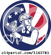 Clipart Of A Retro Mechanical Engineer Holding A Spanner Wrench In An American Flag Royalty Free Vector Illustration