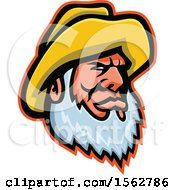 Bearded Senior Fisherman Wearing A Yellow Bucket Hat