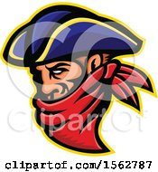Clipart Of A 17th Century Highwayman Robber Mascot Wearing A Bandana Royalty Free Vector Illustration