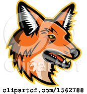 Clipart Of A Maned Wolf Mascot Head Facing Right Royalty Free Vector Illustration