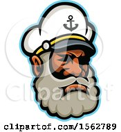 Clipart Of A Black Skipper Or Sea Captain Mascot Head Royalty Free Vector Illustration