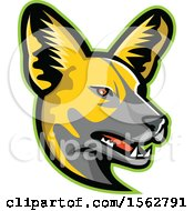 Clipart Of An African Wild Dog Mascot Head Facing Right Royalty Free Vector Illustration by patrimonio