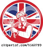 Clipart Of A Retro Mechanical Engineer Holding A Spanner Wrench In A Union Jack Flag Royalty Free Vector Illustration