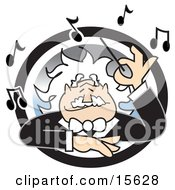 Happy White Haired Music Conductor Surrounded By Music Notes Waving His Wand Clipart Illustration by Andy Nortnik