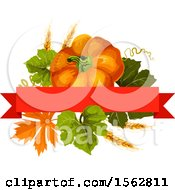 Clipart Of A Seasonal Fall Autumn Design With A Pumpkin And Leaves Royalty Free Vector Illustration