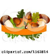 Clipart Of A Seasonal Fall Autumn Design With Leaves Mushrooms And Acorns Royalty Free Vector Illustration