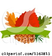 Clipart Of A Seasonal Fall Autumn Design With A Pinecone And Leaves Royalty Free Vector Illustration