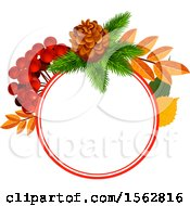 Clipart Of A Seasonal Fall Autumn Design With A Pinecone Berries And Leaves Royalty Free Vector Illustration