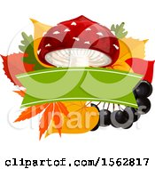 Clipart Of A Seasonal Fall Autumn Design With A Mushroom Berries And Leaves Royalty Free Vector Illustration