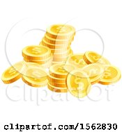 Clipart Of A Pile Of Golden Dollar Coins Royalty Free Vector Illustration
