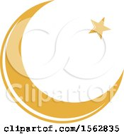 Clipart Of A Crescent Moon And Star Royalty Free Vector Illustration