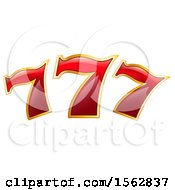Clipart Of A Red And Gold Lucky Triple Seven Design Royalty Free Vector Illustration