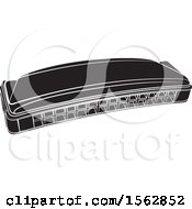 Clipart Of A Black And White Mouth Organ Harmonica Royalty Free Vector Illustration by Lal Perera